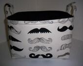 Large Diaper Caddy / Organizer Bin / Mustache Where's my stache Fabric