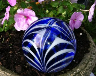 Vintage glass paperweight blue white