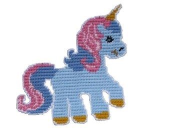 Plastic Canvas My pretty Unicorn Wall Hanging PDF FORMAT Instant Download