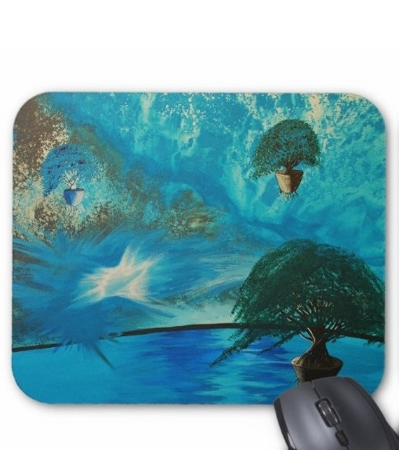 Mousepad Mouse Pad Fine Art Painting Otherworldly Blue Turquoise Water Floating Trees Blue Sky Original Art