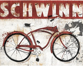 Vintage Schwinn Bicycle Sign - 18x24 Archival Print