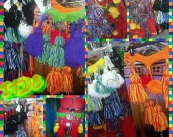 Custom Multi Colored Knitted Tribal Tassel Belt