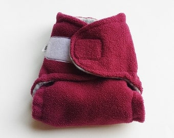 Burgundy and Gray Fleece Diaper Cover - NEWBORN