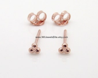 Stud earrings - triple dot stud earrings - rose gold plated stud earrings - cartilage earring - helix earring - men's stud earrings E314R