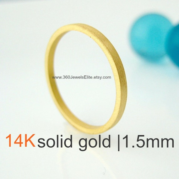 Solid Yellow Gold Ring, Brushed, Flat Square Spacer Stackable 1.5mm Tiny Skinny Wedding Band, Wedding Anniversary Promise, Promotion