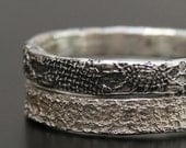 silver  lace stacking rings  - ready to ship in size 8 1/4