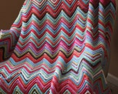 Hand Crochet afghan, Zig-zag Pattern, Fits top of twin size bed, made to order...