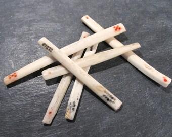 Mah Jongg Bone Counters VINTAGE Mah Jong Bone Counter Sticks Six (6) Ox Bone Counters Mahjong Vintage Art Supplies Game Piece Destash (G5)