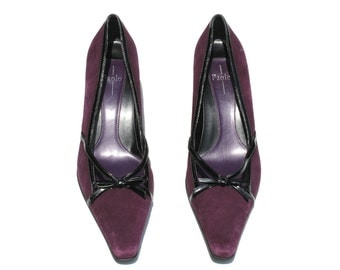 Vintage Linea Paolo Dark Purple/Black Suede/Patent Leather Bow Dress Shoes Sz 8