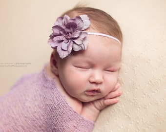 Baby Headband, Purple Flower Newborn Headband, Newborn Props, Baby Props, Purple Headband, Lilac Headband, RTS Props, Flower Crown