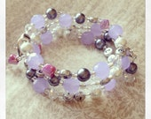 FREE SHIPPING Nursing Bracelet in Purple Moonstone, Pink Shell, Dark Grey Glass Pearls and Clear Faceted Glass, Mom Bracelet, Mom Jewelry