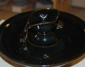 "Ceramic Pet Fountain, Handmade, Foodsafe -  ""Bateau Noir"" - 11.5 Inch Diameter"