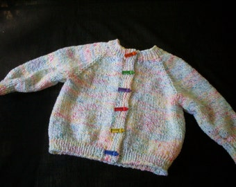 Hand knit boy or girl crayon colored cardigan