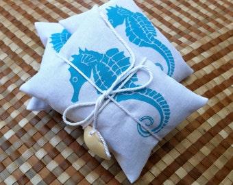 Aqua Handprinted Seahorse on White Cotton Lavender Sachet Bundle of 2 for Coastal Living Gift