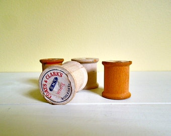 Vintage Wooden Thread Spools,No Thread, Craft Sewing, Collectibles, Set of 4