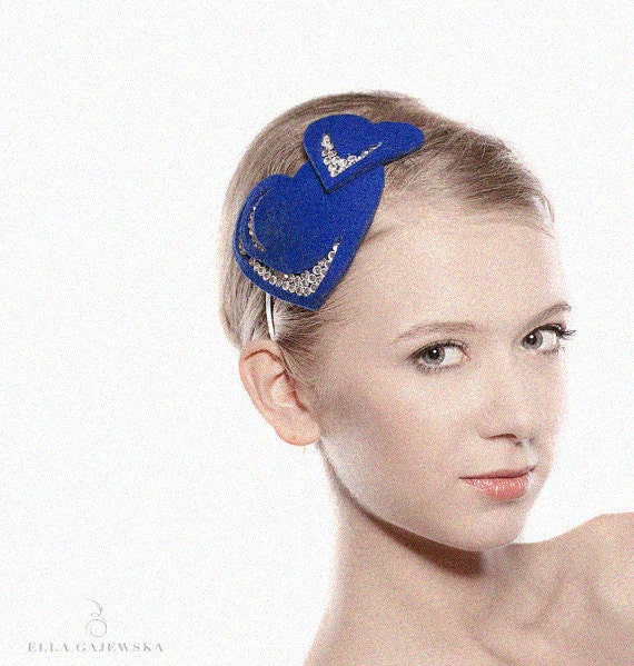 Cobalt Blue Heart Headband - Sapphire Mini Heartlette Womens Accessory - Party Accessories - Hearts - Genuine Swarovski Rhinestones