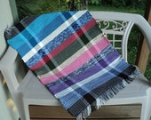 Wide Striped Hand Loomed Rag Rug in Multi-Color