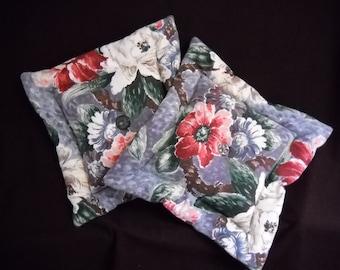 Pair Barkcloth Pillows  Beautiful Floral Vintage