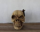 Vintage Skull Bank with Bat