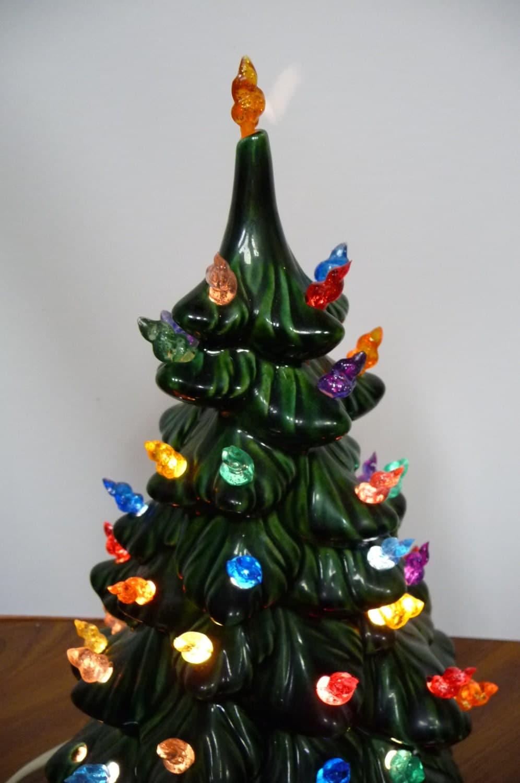 Vintage Ceramic Mold Christmas Tree Light Up W Stand 12