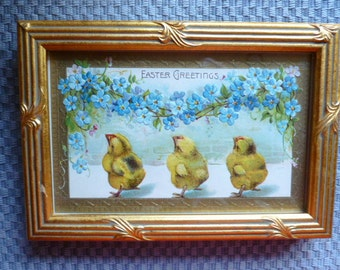 Antique Easter Postcard gold framed chicks and Forget-Me-Nots