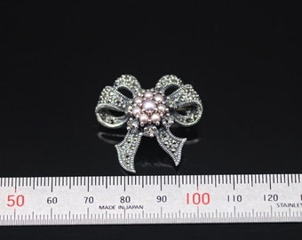 1pcs(brc-0029) - sterling silver brooch with marcasite and fresh water pearl