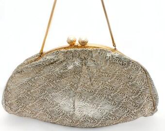 Midcentury Metallic Brocade Handbag