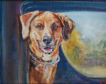 sale, fall painting, dog in truck, hound dog, mixed breed, mutt, farm dog, hunting dog, country decor, original oil, father's day