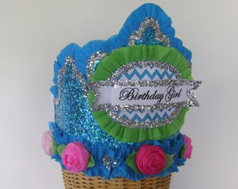 Birthday Party Crown, Birthday Party Hat, turquise birthday hat, glitter birthday hat, girl birthday hat, customizePa
