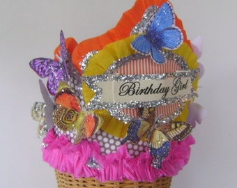 Butterfly Birthday hat - Butterfly Birthday Crown,  Birthday Girl Crown, customize - Adult or Children