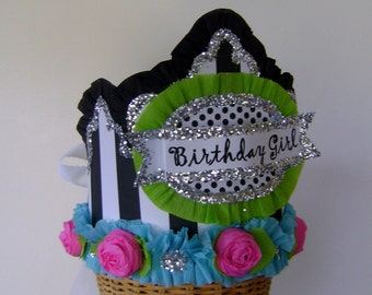 Birthday Party Crown/Hat - adult or child-  black and white stripe Birthday Girl or customize