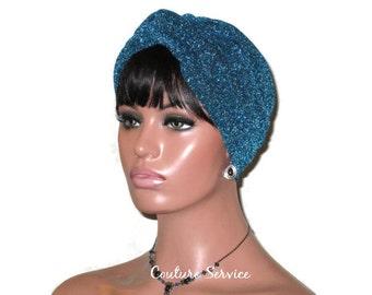 Blue Turban, Teal Blue Turban, Metallic Turban, Women's, Handmade, Fashion Turban, Teal Twist Turban, Turbin, Turban Hat, Full Blue Turban