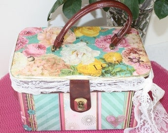 Floral Upcycled Vintage Carry On Case Train Case Make Up Case Decoupage Altered Art Luggage by My Cozy Cottage Designs