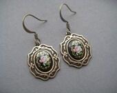 Small Cameo Earrings - Rose Earrings - Neo Victorian Earrings - Edwardian Jewelry - Black Rose Cameos - Rose Jewelry - Victorian Jewelry