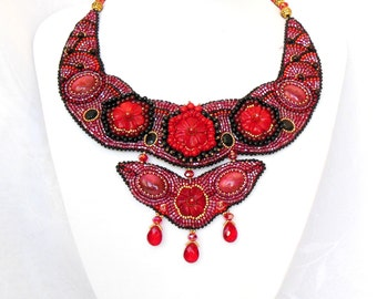 Necklace embroidery design red coral floral jewellery beads natural stone Carmen