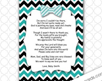 oh boy baby shower thank you notes with poem turquoise black bow