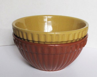 Two Brown and Gold Mixing Bowls