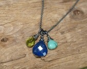 Lapis Turqoise Peridot Gemstone Necklace