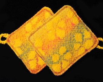 Two Yellow Flower Hot Pads, Pot Holders  Felted