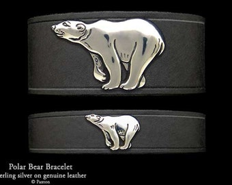 Polar Bear Leather Bracelet Sterling Silver Polar Bear on Leather Bracelet