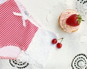 "Cotton Panties ""Picnic"" Red and White Gingham with Daisy Lace Hipster Cut Handmade to Order Perfect for Summer"