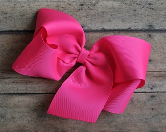 Neon Pink Big 8 Inch Twisted Boutique Bow Bright Pink Bow