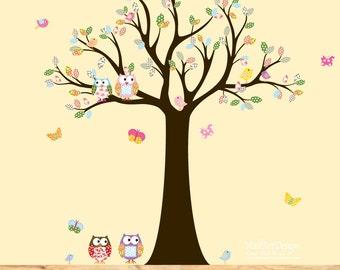 Vinyl Wall Decal Stickers Owl Tree Set Nursery Girls Baby decal tree butterflies
