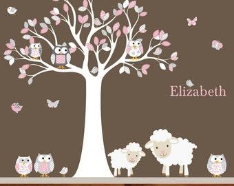 Vinyl Wall Decal  Nursery Wall Decal Vinyl Wall Decal pink chevron pattern Owl Tree Set Nursery Girl Baby