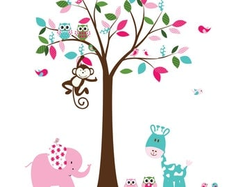 Childrens Wall Decal Tree with patterned leaves Owls Birds Vinyl Decal Set