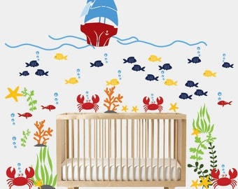 Wall decals nursery - Nursery wall decal - Underwater decal - Children Wall decal - Sea World Vinyl Decal - Nursery decals - nursery