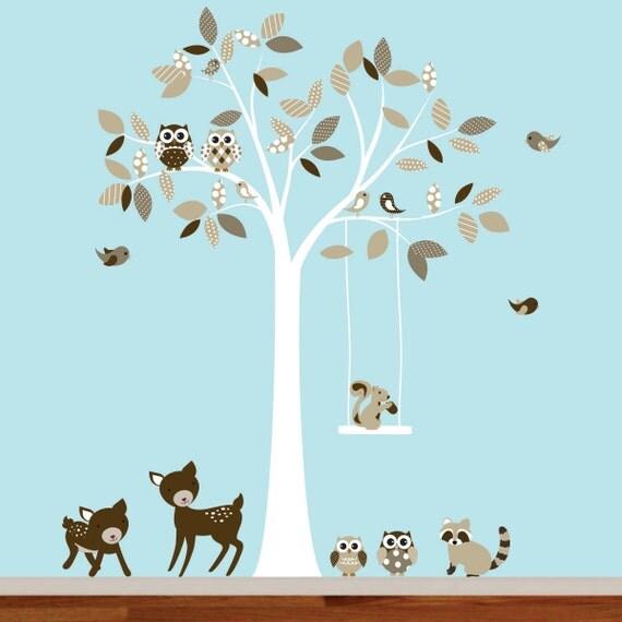 Childrens kids vinyl wall decal tree with owls,birds, deer, raccoon vinyl decal set