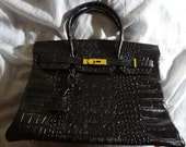 35cm Rare Gorgeous Estate Black crocodile Hermes Birkin genuine leather purse bag