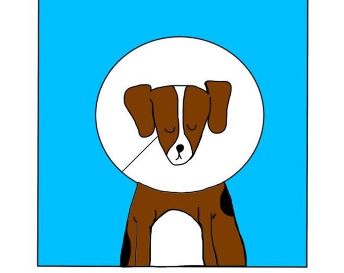 Heard You Weren't Well, Hope You Feel Better Soon, Beagle With Cone, made on recycled paper comes with envelope and seal