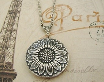 Silver Locket Wife Sister Sunflower Necklace Wedding Jewelry Bride Bridesmaid Valentine Mother Daughter Gift Anniversary Photo Pictures-Cami